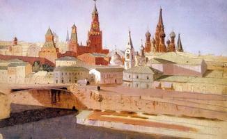 Москва. Вид на Москворецкий мост, Кремль и храм Василия Блаженного (1882 г.)