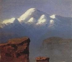 Вершина Эльбруса, освещенная солнцем (1908 г.)
