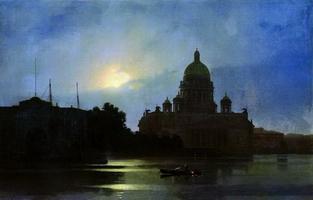 Вид Исаакиевского собора при лунном освещении (1869 г.)