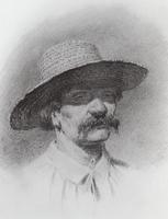 Мужская голова в соломенной шляпе