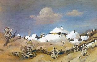 Зима. Пятна бунного света на крышах хат (1876 г.)