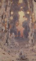 Солнечные пятна на инее. Закат в лесу (1890 г.)