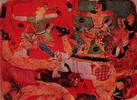 Битва (миниатюра, раджастханская школа, XVI в.)